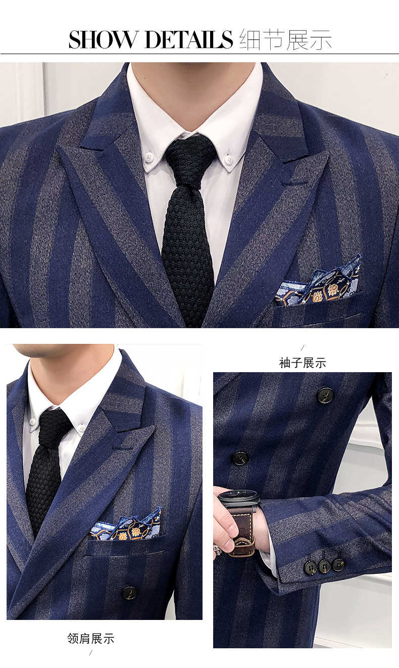 Slim Fit Double Breasted Suit Latest Coat Pant Designs Skinny Men Prom Stripe Suits Wedding Costume Homme Luxe 3 Piece
