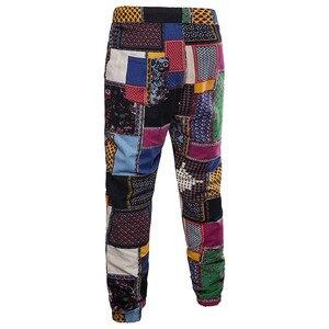 Image 2 - Hommes vacances ensemble lin longue pantalon Style ethnique Patchwork costume masculin Festival porter grande taille 5XL Europe chemise mince automne nouveau