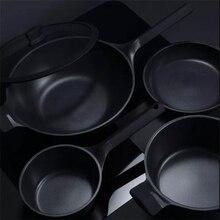Orijinal Huohou yapışmaz süper platin kızartma tavası Wok tencere süt pişirme kabı dayanıklı kolay temiz yüksek sıcaklık hatırlatma mutfak
