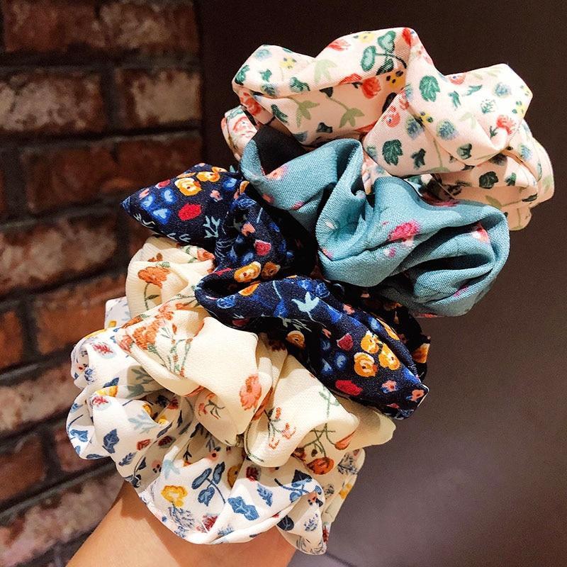 New Women Girls Elegant Print Flower Scrunchie Elastic Hair Bands Ponytail Holder Headband Rubber Bands Fashion Hair Accessories