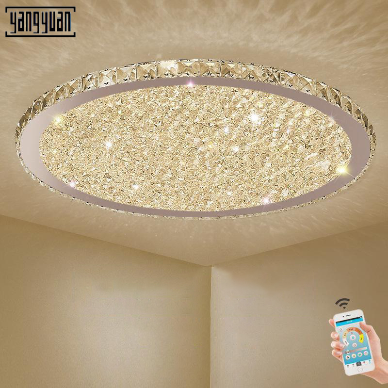 Modern Led Ceiling Chandeliers Hanging Lights Fixtures Round Crystal Chandelier Lighting for The Bedroom Living Room Home Lustre