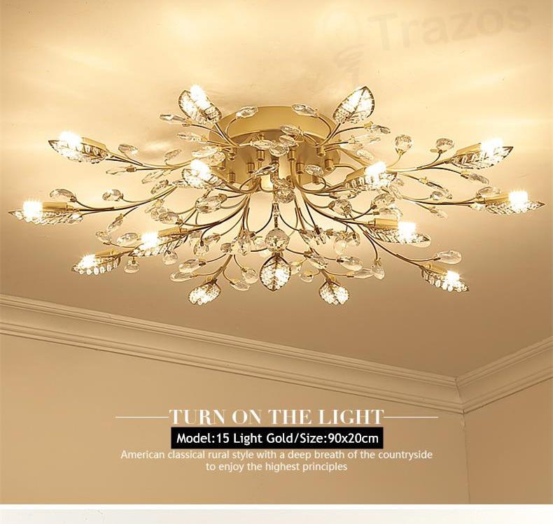 H0c431f6c93c14cf9af3236c154b19f20j TRAZOS New item fancy ceiling light LED Crystal ceiling lamp modern lamps for living room lights,AC110-240V DIY Crystal lighting