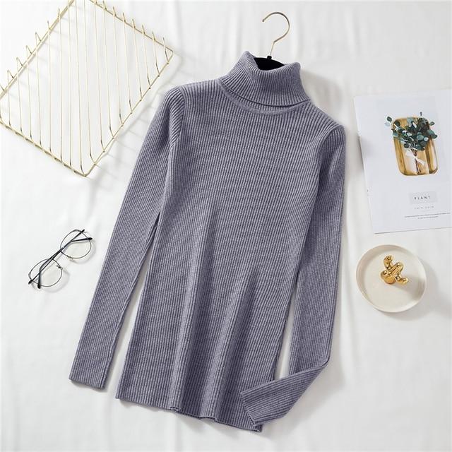 Hirsionsan-pull tricoté à col roulé pour femmes, pull basique et chaud, résistant, élastique, nouveauté automne et hiver 2020