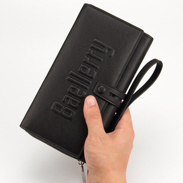 Baellerry Wallet Male Clutch Wallets Large Phone Bag Unique Design Men Purse Turnover Handbag Multifunction Card Holder Wallet 5