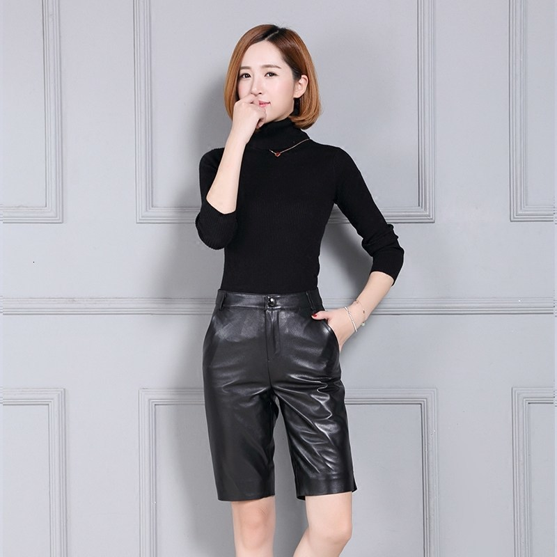 Genuine Leather Slim Fit High Waist Office Knee Length Shorts  Women 2020 New OL Fashion Black Zip Shorts Femme Plus Size 4XL