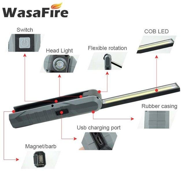 5 pcs/lot magnétique COB lampe de poche LED USB Rechargeable 4 Mode lampe de travail à LED lanterne pliable pour Camping chasse
