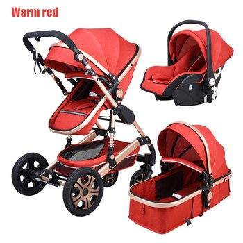 Newborn Baby Stroller 3 in 1 High Landscape Carriage Luxury Travel Pram Basket quality Stroller Baby Car seat Hot Sale Upgrade! 11