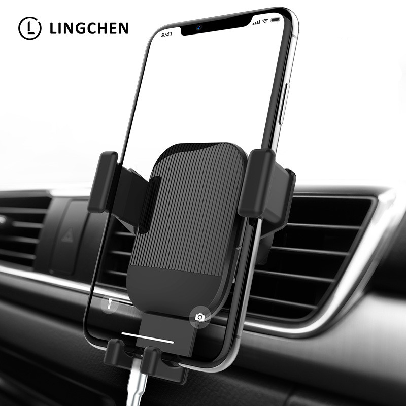 Lingchen Gravity Car Phone Holder For Phone In Car Air Vent Clip Mount No Magnetic Phone Holder Cell Stand Support For IPhone X
