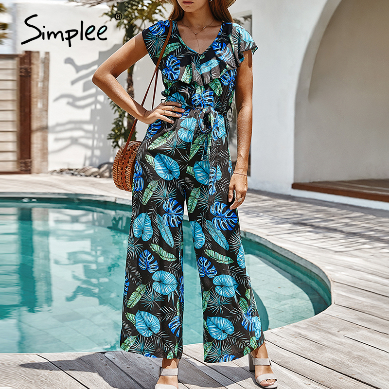 Simplee Casual Summer Floral Print Women Jumpsuits Bohemian Ruffle Sleeve Female Jumpsuit Romper Beach Holiday Ladies Overalls