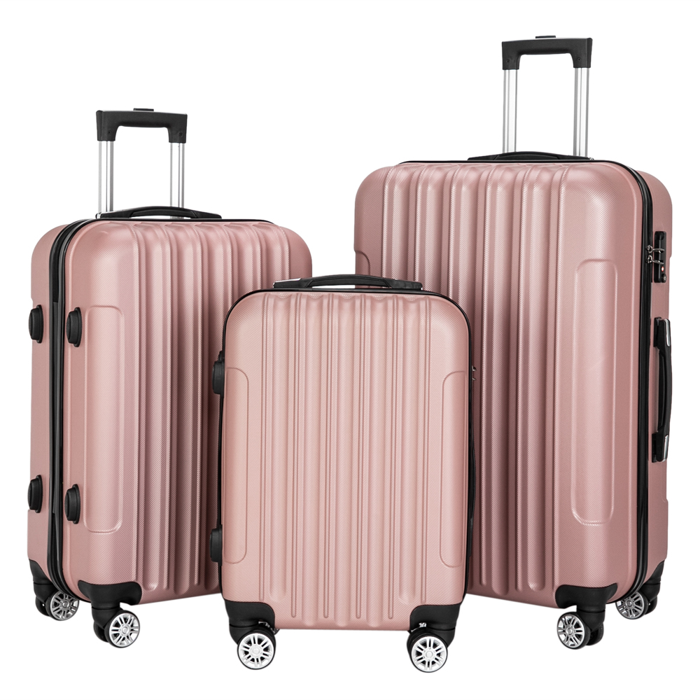 3-in-1 Multifunctional Large Capacity Traveling Storage Suitcase Luggage Set Rose Gold High Quanlity ABS Materials 20