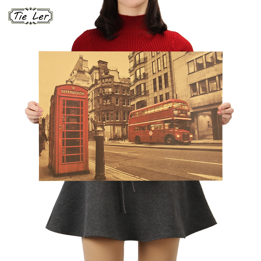 London Red Buse and Telephone Booth Kraft Paper Wall Sticker Cafe Bar Decorated Home Decor Vintage Paper Poster 51.5X36cm(China)