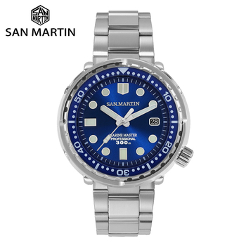 San Martin Diver TUNA Stainless Steel Watch NH35 Sapphire Enamel Sunray Men Automatic Mechanical Watches Blue Super Luminous - discount item  25% OFF Men's Watches