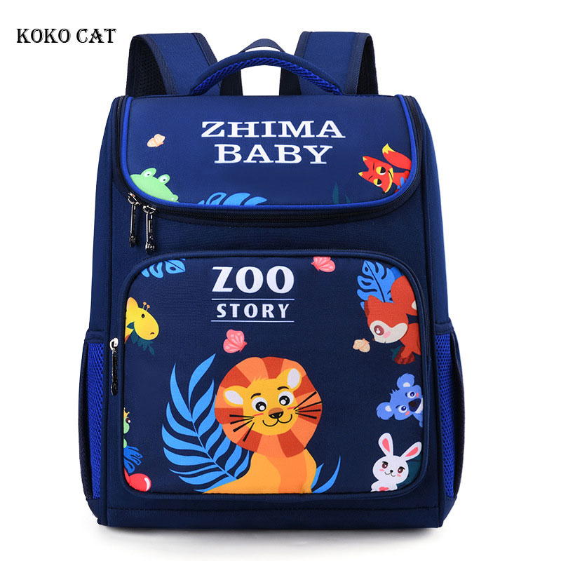 Children Orthopedic School Backpack For Girls Boys Zoo Story Printing Grades 1-3 Student School Bags Mochila Infantil Escolares