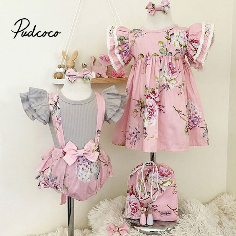 Children Clothes Summer Baby Kids Girl Little Big Sister Match Clothes Dress Overalls Suit Outfits Family Matching Outfits