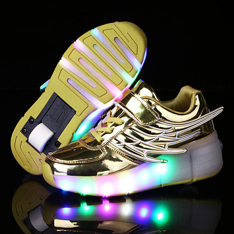 PU Leather Kids Rollerskates Sport Inline 2 Wheels Shoes NEW With LED Lights Different Size Sneakers Children Sports Shoes