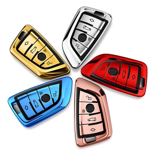 fit for BMW X1 X3 X5 X6 1/3/5/7 Series M5 Car Key Cover Key Case High Quality Chrome TPU Auto Key Shell Protector Key Chains