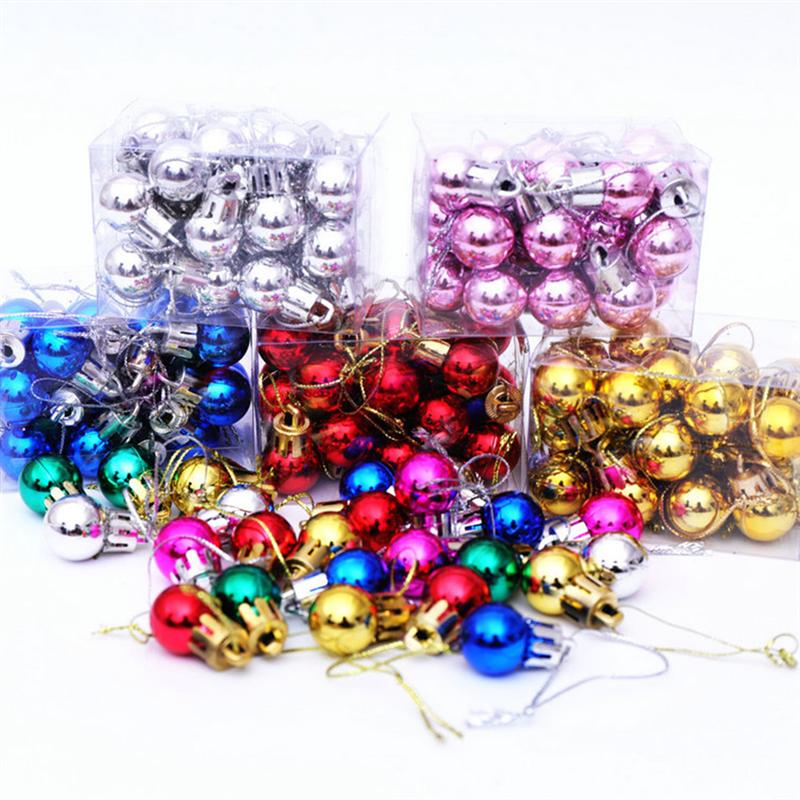 24pcs 2CM Christmas Pendant Miniature Ball Hanging Decor Xmas Tree Ornaments Layout Decorative Props for Home Store (Silver)