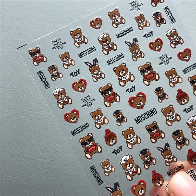 1 шт. 3D Мишка дизайн ногтей наклейки для ногтей искусство украшения Новый год мультфильм наклейки для ногтей DIY маникюрные Типсы