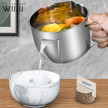 960ML Multi-use Stainless Steel Gravy Oil Soup Fat Separator Stainless Steel Oil Fat Separator Oil Soup Strainer Cup With Handle bai lin tong oil soup diet bailingtong oil tang zhengpin lotus soup a bowl of oil stocks blue tea soup page 3