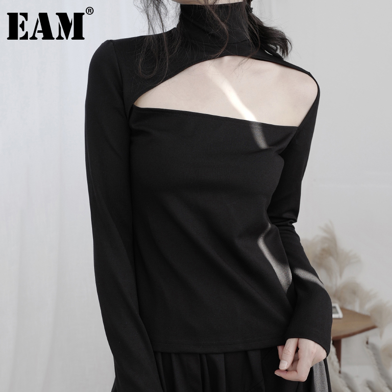 [EAM] Women Black Hollow Out Stitch Temperament T-shirt New Turtleneck Long Sleeve  Fashion Tide  Spring Autumn 2020 1DB366 1