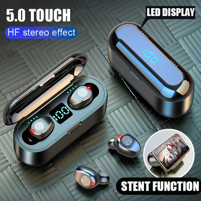 Baseuer Bluetooth V5.0 Wireless Earphones LED Display Stereo Earbuds 2000mAh Power Sport Headset With Microphone Headset
