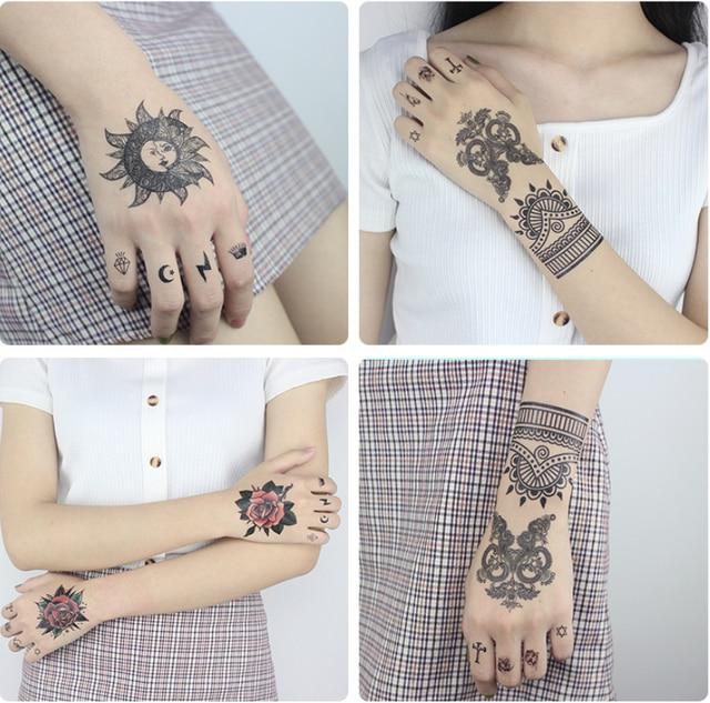 Fashion Flower Pattern Tattoo Sticker Waterproof Temporary Sticker Geometric Planet Tattoo Black Tattoos Body Arm Fake Tatoos