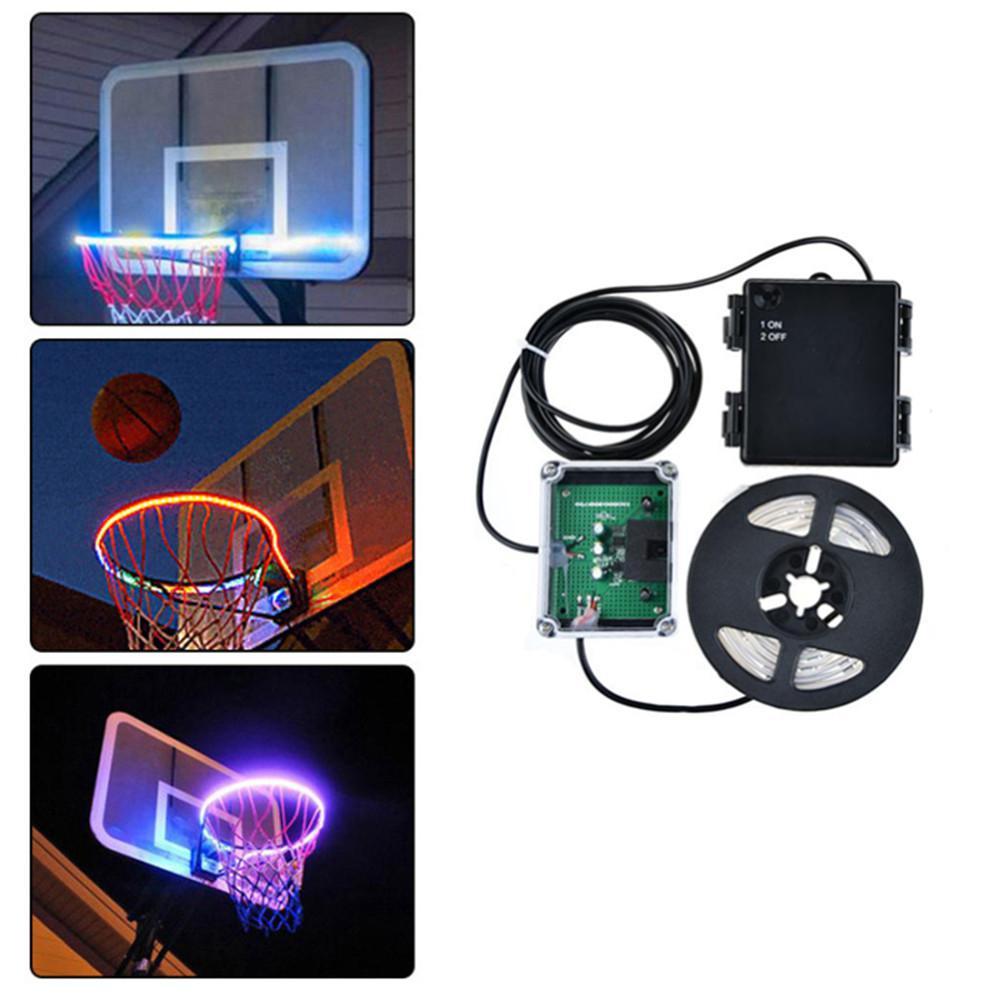 Creative LED Basketball Frame Hoop Light Sensor Lamp For Night Playing
