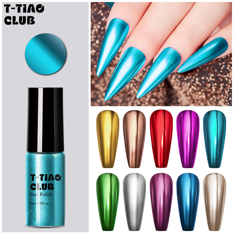 T-TIAO CLUB Mirror Effect Metallic Nail Polish Pretty Shiny Mirror Glitter Long Lasting Nail Polish Gold Silver Chrome Nail Art