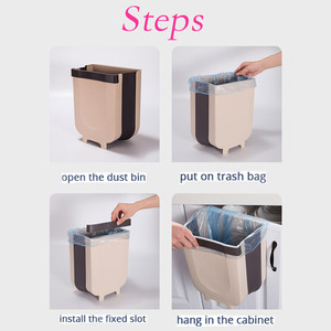 Image 2 - Kitchen Cabinet Door Hanging Trash Can Garbage Can Folding Waste Bins Kitchen Hanging Collapsible Dry Wet Separation Trash Can