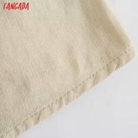 Tangada Women Pleated Cotton Linen Dress Sleeveless Backless 2021 Summer Fashion Lady Dresses 3H587 5