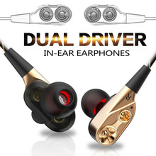 Universal Mobile Phone Headset Running Game Music Headphones In-ear Earphone Double-action Subwoofer genuine new original double unit drive in ear earphone bass subwoofer headset dj running sport earphone 3 5 universal headphones