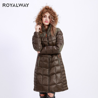 ROYALWAY 2019 New Winter Women's Warm Goose Down Coats Camping Hiking Wind Resistant Collar Hooded Classic Sport Coat RFDL4341E