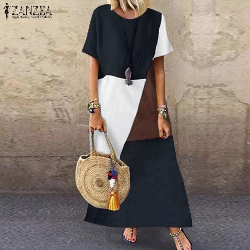 2019 ZANZEA Summer Pacthwork Dress Women Short Sleeve Sundress Vintage Cotton Linen Vestido Robe Femme Party Loose Dresses 5xl 7