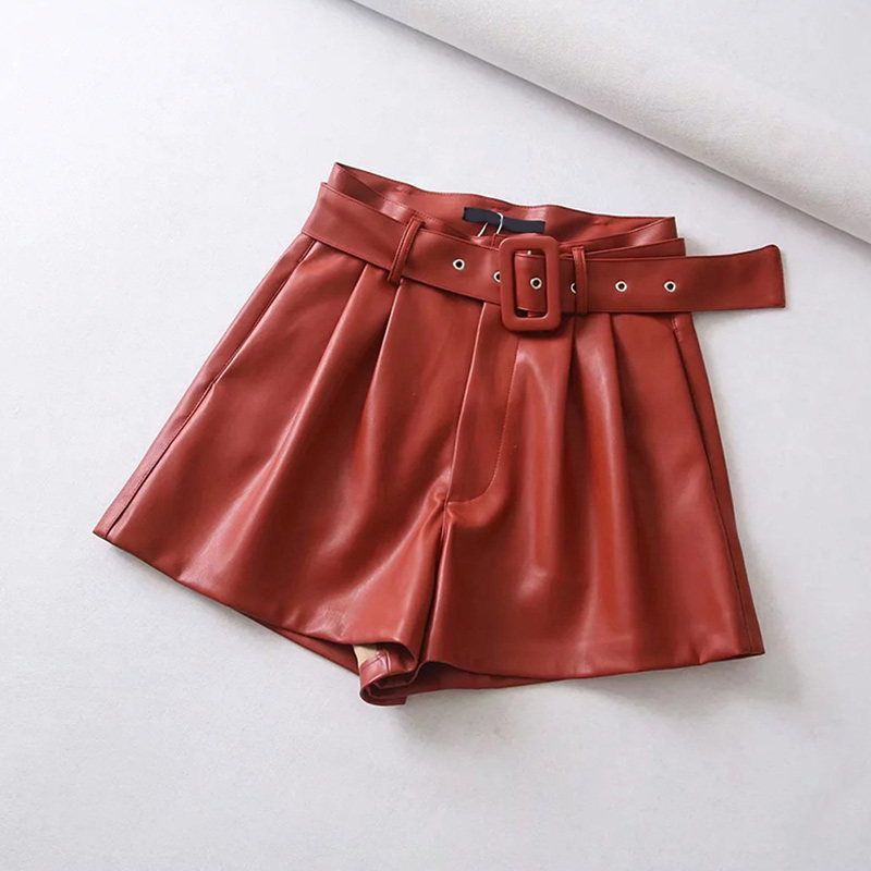 Women-Black-Orange-Color-PU-Leather-High-Waist-With-Belt-Wide-Leg-Faux-Leather-Solid-Shorts (1)