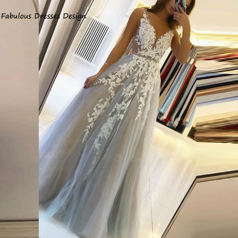 Sexy V Neck Backless Prom Dresses 2021 Applique Lace A Line Tulle Long Evening Dress Party For Women Robe De Soirée
