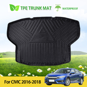 Car Rear Boot Cargo Liner Trunk Floor Mat Waterproof Rubber Protector For Honda Civic 2016-2018 image