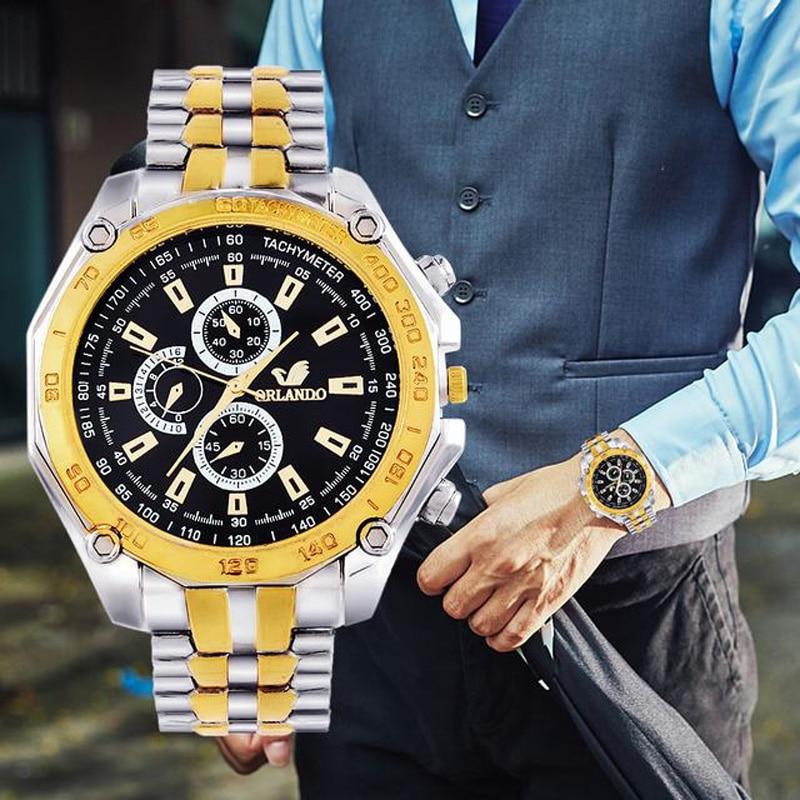 2019Men's Wrist Watches Mens Watches Top Brand Luxury Orlando Clock Stainless Steel Men's Watch Men Erkek Kol Saati Reloj Hombre
