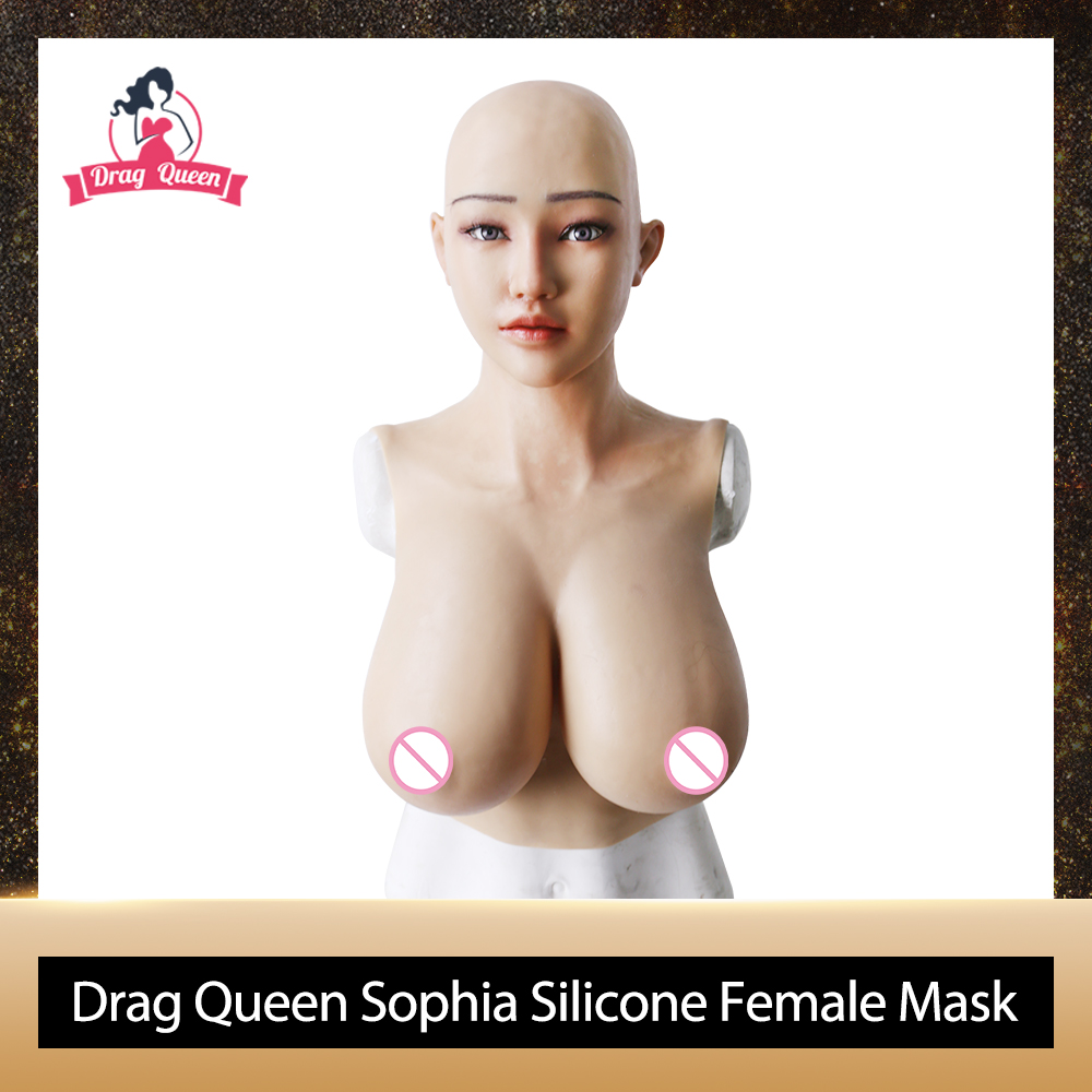 Drag Queen Sophia Silicone Female <font><b>Mask</b></font> With G Cup Gel Breast Forms <font><b>Sexy</b></font> Silicone <font><b>Masks</b></font> for <font><b>Halloween</b></font> Masquerade Crossdresser image