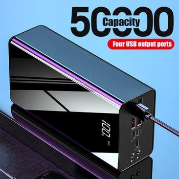50000mAh Power Bank TypeC Micro 4 USB QC Fast Charging Powerbank Fishing lighting LED Display Portable External Battery Charger