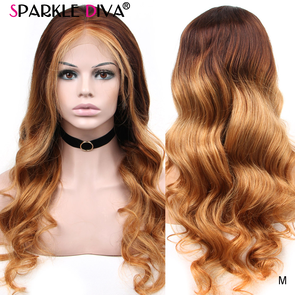 Ombre Blonde Lace Front Human Hair Wigs Pre Plucked Body Wave Lace Front Wig Medium Rito 150% Peruvian Wig 13*4 Remy Lace Wigs