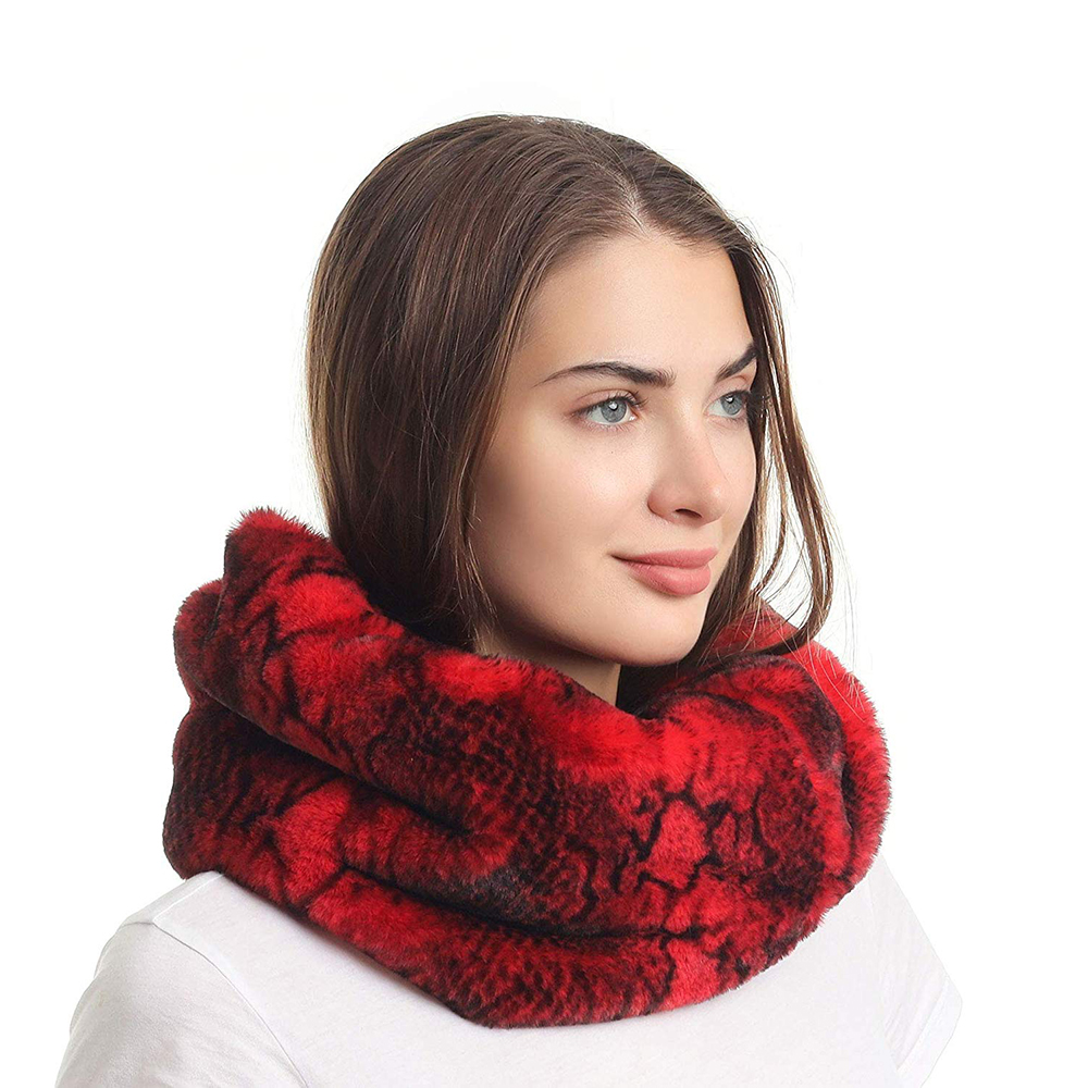 Women's Winter Snakeskin Print Faux Fur Infinity Scarf  Warm Neck Warmer Scarfs