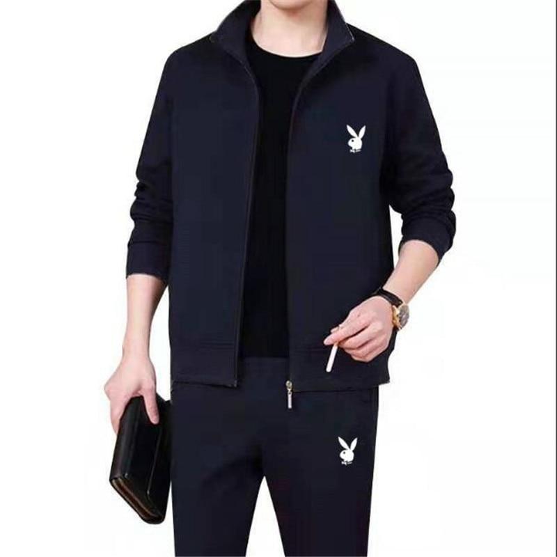 Spring Men Set High Quality Fleece Sweatshirt + Pants Male Tracksuit Sporting Sweat Suits Mens Survetement Sportswear