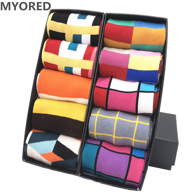 MYORED  Hot Sale Mens Casual Sokken Four Seasons Plaid Banquet Business Socks For Men Causal Dress Wedding Gift