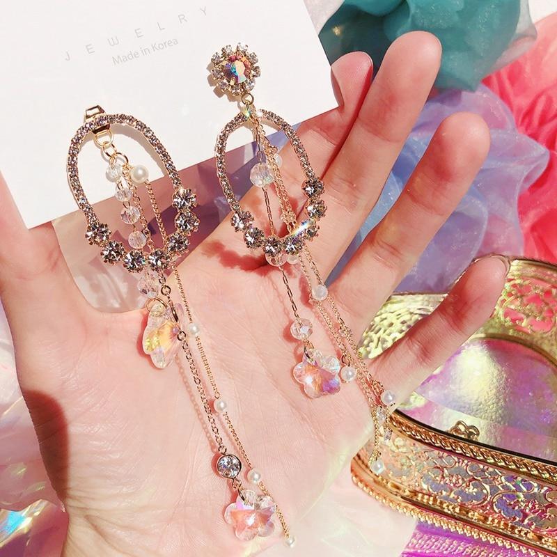 MENGJIQIAO 2020 New Korean Luxury Crystal Circle Drop Earrings For Women Acrylic Flower Long Tassel Pendientes Party Jewelry