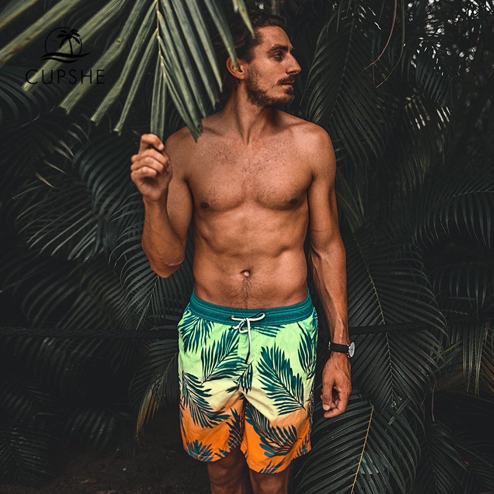 CUPSHE Tropical Palm Print Men's   Board     Shorts   Summer Beach Trunks   Shorts   Men 2019 Swimming Surfing Pants Beachwear