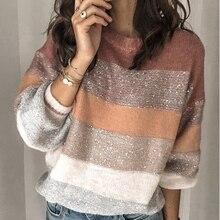 VITIANA, Свободный Повседневный вязаный свитер для женщин, осень, Женский пуловер с длинным рукавом, полосатые трикотажные свитера, женская элегантная одежда