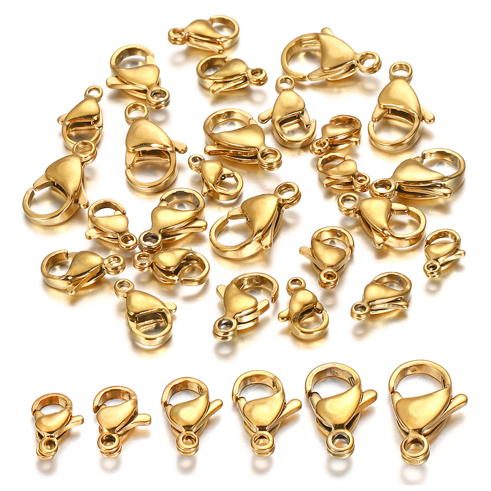 Застежка-карабин из нержавеющей стали с позолоченным покрытием, застежки для браслетов, ожерелий, цепочек, фурнитура для изготовления ювел...