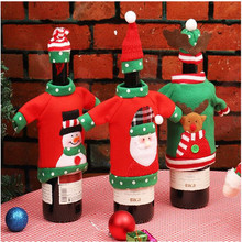 Christmas Red Wine Bottle Topper Cover Home Party  Decoration New Year Navidad Decor