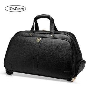 Image 3 - BeaSumore בדרגה גבוהה 100% אמיתי עור נסיעות תיק גברים עסקים מתגלגל מזוודות עגלת 20 אינץ לשאת על מזוודות גלגל