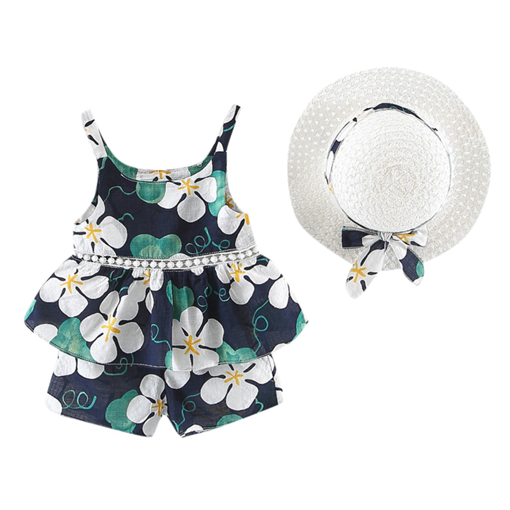 TELOTUNY Toddler Baby Girls Tops Floral Fruit Strap Tops Shorts Outfits Hat Casual Set Lovely Clothes Children Summer Sets 325